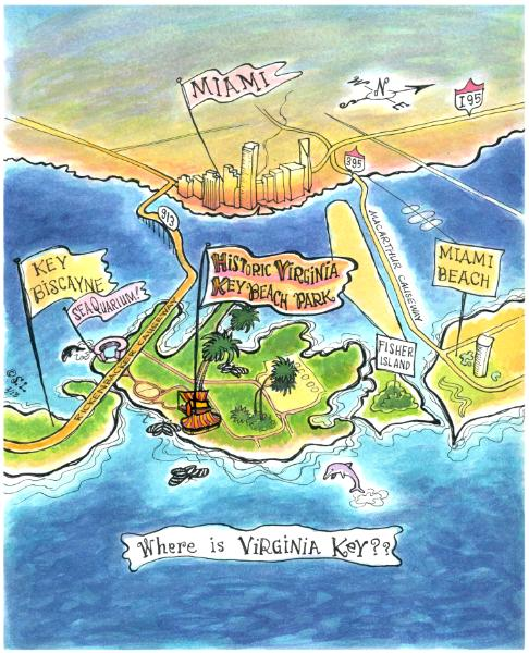 Virginia Key Aerial Map