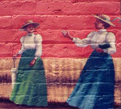 Farmer's Alliance Mural, detail (Pontificating Suffragists)