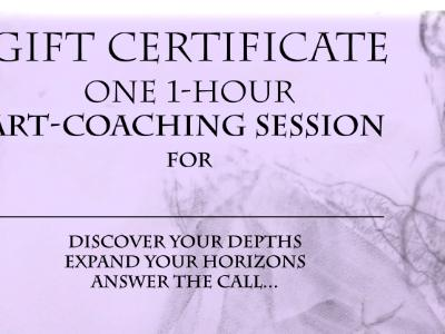 Gift Certificate for ART COACHING - On Sale for 15% Off