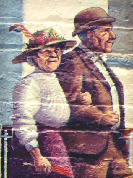 Farmer's Alliance Mural, detail. (Old Couple)