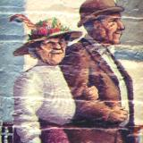 Farmer's Alliance Mural, detail. (Old Couple)