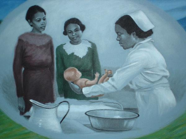 Nursing History Mural, detail (Education)