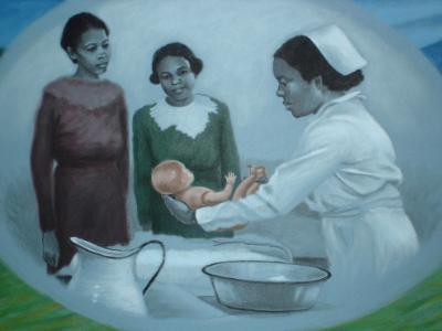 Nursing History Mural, detail (Education)