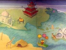 Wren Library Children's Mural Panorama